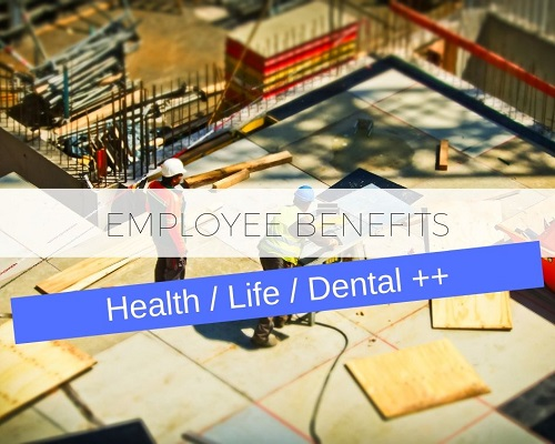 Group insurance for employees, including health, life, dental & disability.
